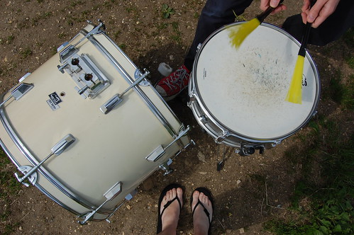 drumming in a field is fun