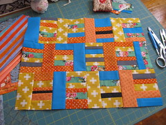 Log Cabin style small quilt designed by Janie 2016 (crazyvictoriana) Tags: modern improvised small pieced quilt turquoise orange liberated