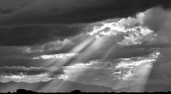 Sunbeams (llabe) Tags: sky stormy cloudy landscape mountains clouds sunbeams blackandwhite monotone scottsdale arizona nikon d750
