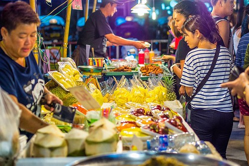 Almost every night there are many night markets in Chiang Mai. | #chiangMai #thailand | They are full of food and sometimes feature music. I like to get corn on a stick($1), sticky rice 30 cents, sticky rice with mango $2 and grilled chicken kabob $50 cen
