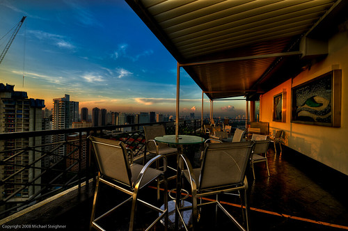 From the rooftop of the Shangia-La Hotel in Singapore