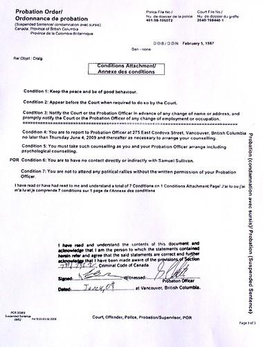 Megan Craig's probation order