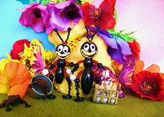 Billy & Brilli(ant) at the Hill Family picnic (judibird) Tags: wood art toy miniature beads doll picnic handmade oneofakind ooak painted ant hill craft kitsch dot retro ornament handpainted billy collectible figurine whimsical chenille vintagestyle anthology anthropomorphic pipecleaner brilli judibird