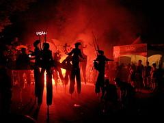 juste pour rire (californiabirdy) Tags: street costumes red canon fire costume fireworks montreal fair firework parade just pour streetfair stilts juste stilt stiltwalker rire laughs costumed cmwdred platinumbestshot