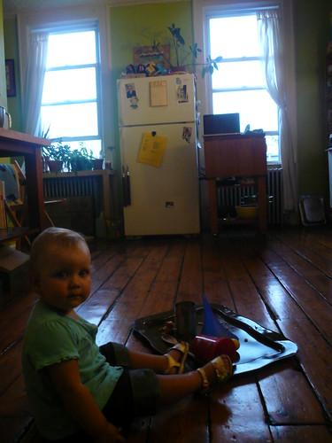 Babysitting in the kitchen.