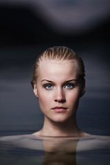 Beauty (LalliSig) Tags: pink blue summer portrait woman reflection wet water girl face iceland blurry eyes purple bokeh dusk headshot portraiture gaze