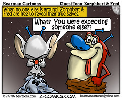 7 7 09 Bearman Cartoon Zorphbert&Fred copy (Bearman2007) Tags: humor pinky bearman stimpy guestcartoon bearmancartoons zorphbertandfred zfcomics