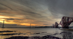 Forth Bridges at Sunset (Grant_R) Tags: bridge sunset reflections river scotland nikon edinburgh fife suspensionbridge firthofforth southqueensferry northqueensferry forthroadbridge forthbridges forthrailbridge d90 1870dx nikond90 iconicedinburgh forthbridgesatsunset forthroadbridgeatsunset forthrailbridgeatsunset sunsetatedinburgh cantilevelbridge famousedinburghlandmarks