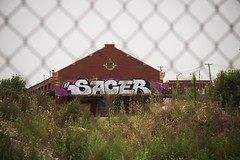 SACER by NEKST (Ironlak) Tags: usa streetart chicago streets color art graffiti memorial il msk 2009 sace irak nekst abandonedfactory dashsnow