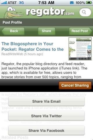 Regator iPhone app screenshots