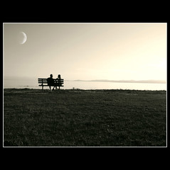 Lovers  ( Explore ) (Nick Kenrick.) Tags: ocean city travel sunset sea summer vacation moon holiday canada tourism silhouette landscape bay bc pacific peaceful canadian professional vancouverisland tranquil hdr victoriabc imagery nationalgeographic dallasroad cloverpoint ultimateshot zedzap elitegalleryaoi hqphotography