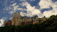 Buildings on the Upper West Side (veros222) Tags: nyc newyorkcity sky green architecture clouds skyscape manhattan upperwestside cloudscape buidlings challengeyou friendlychallenges thechallengefactory