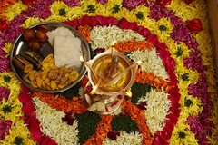 Happy Onam (vbsuresh) Tags: flowers india lamp fire design pattern colours bangalore kerala celebration recipes onam eatables pookkalam deepam bengaluru 40d festivalfeast villakk