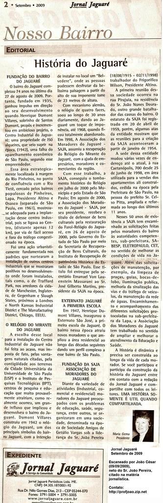 Historia do Jaguare - Setembro de 2009