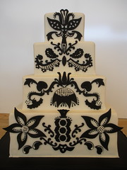 Andrea's Cake Damask (Josef's Vienna Bakery) Tags: vienna wedding black cake square marisa sweet flames nevada tahoe tasty bakery reno bridal sparks tier hess fondant damask handdecorated josefs