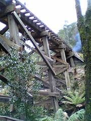 Wooden trestle bridge on ABT Railway