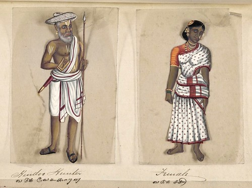 013- Cazador hindú y su mujer-Seventy two specimens of castes in India 1837