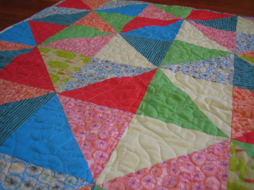 Close up of HST baby quilt