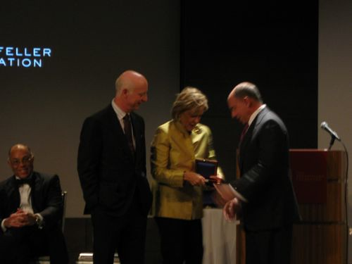 Richard Kahan (center) receives his Lifetime Leadership medal from Paul Goldberger and Judith Rodin. Kahan quipped hed rather be receiving the up-and-comer award.