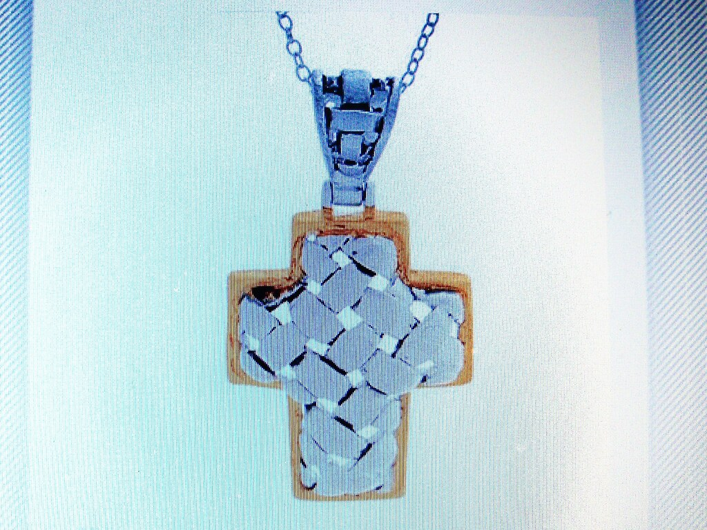 BRAND NEW CROSS NECKLACE DESIGNED IN 14K/925 GOLD PLATED SILVER