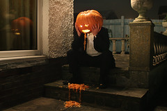 Too many treats (Glorious Freaks) Tags: halloween drunk pumpkin jackolantern pumpkinhead hangover suit sick puke pissed vomit reflector puking throwingup pumpkinsick chuckingup