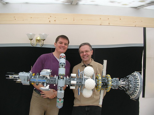 Ed Diment and Ralph Savelsberg with LEGO Carl Sagan ship