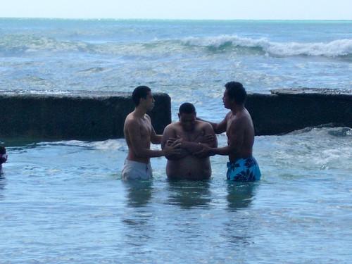 Keoni getting baptised