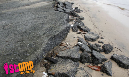Beautiful Pulau Ubin slowly eroded by waves