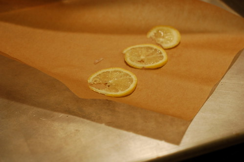 Lemon slices on parchment paper for poulet en papillote by Eve Fox, Garden of Eating blog