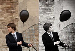 Everything Will Change. (Brandon Christopher Warren) Tags: boy two white black color cute rain umbrella balloons diptych paint downtown serious bricks rocky tie northcarolina mount suit dilapidation danielwarren balloonseries