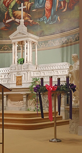 Saint John the Apostle and Evangelist Roman Catholic Church, in Saint Louis, Missouri, USA - Advent wreath and tabernacle