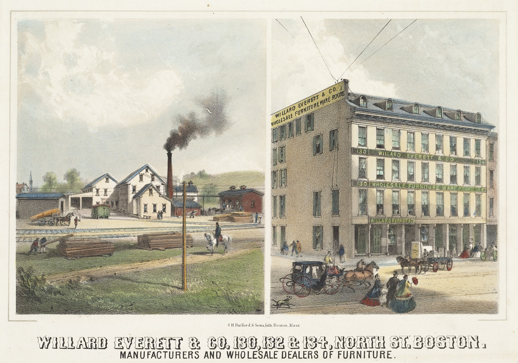 Willard Everett & Co. 130, 132 & 134, North St. Boston. Manufacturers and wholesale dealers of furniture
