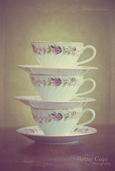 Teacup Tower (Betsy Cole Photography) Tags: life china texture cup rose vintage still soft pretty tea stack teacup saucer
