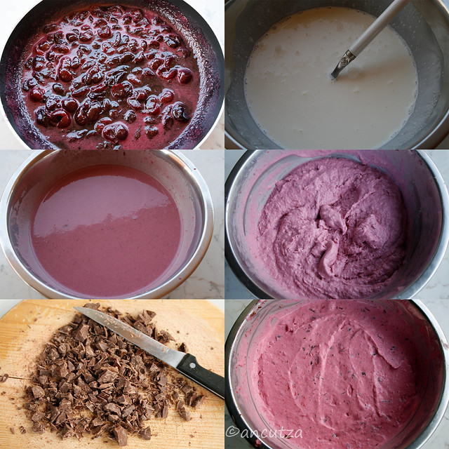 ricetta con foto preparazione gelato alle ciliegie e cioccolato
