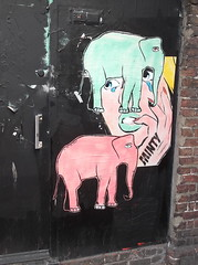 Minty Girl Meets Elephants (Pink & Green Remix) (The Lens of Lucid Frenzy) Tags: art brighton graffiti streetart posters