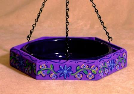 Hand Painted Bird Feeder/Birdbath - Purple Rosemal