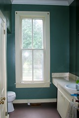 "The half bathroom painted ""Green Peppercorn"""