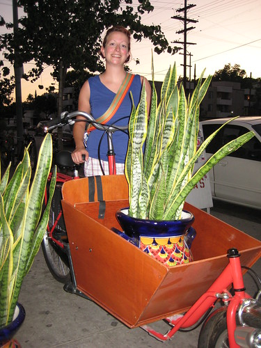 Beth performing a quick test of the cargo bucket on one the Flying Pigeon bakfiets available at Flying Pigeon LA.