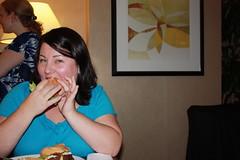 Jenny Lauck eats a burger