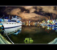 Going Fishing with a Fisheye (Ryan Eng) Tags: sky water night clouds reflections boats hawaii oahu fisheye honolulu dri alawai longexposures boatharbor nikkor105mmfisheye nikond90 manualblending ryaneng