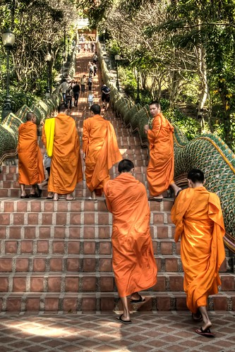 Monks on the Steps to Doi Suthep
