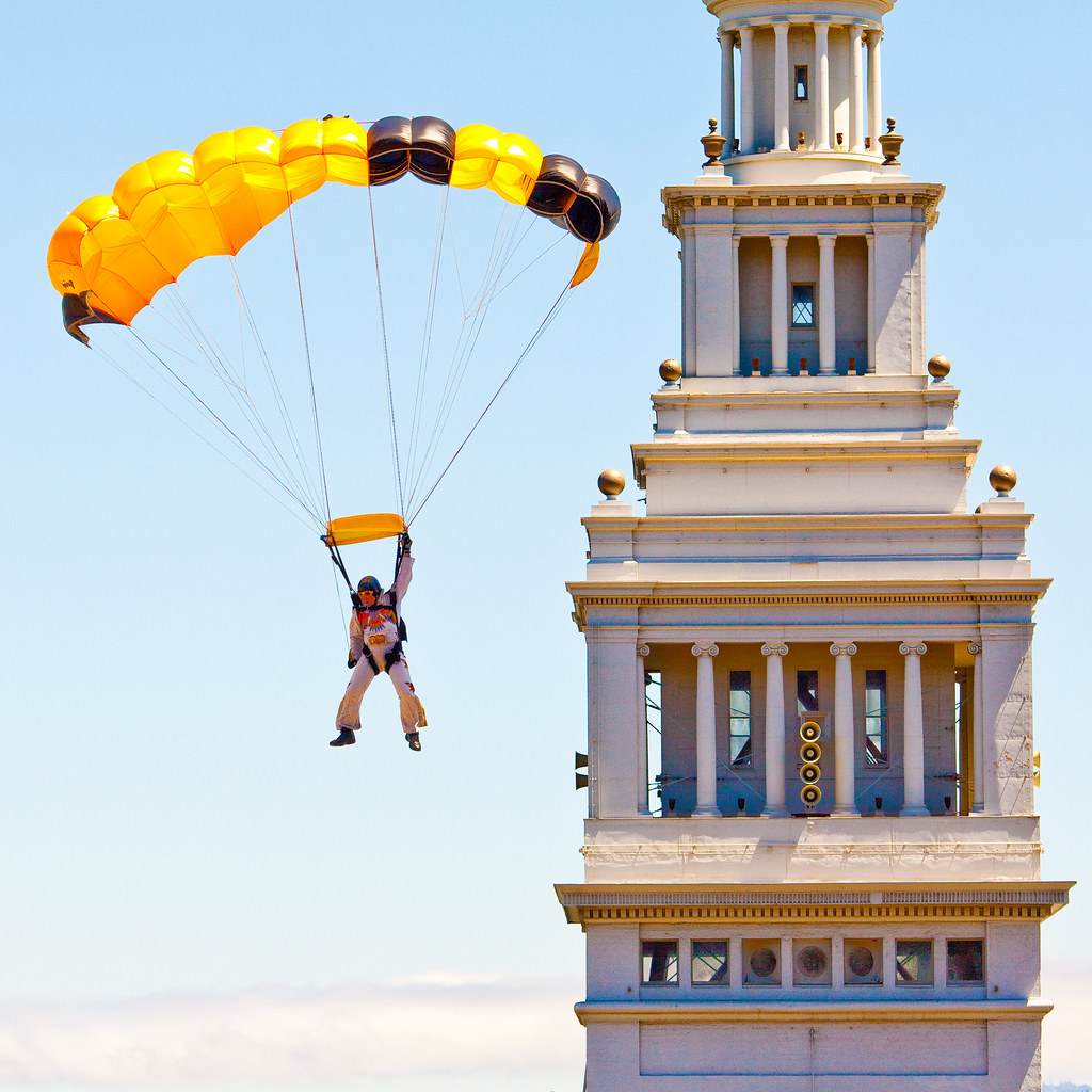 Skydivers Over San Francisco