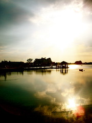 To Life, To Glory. (heatherm815) Tags: sunset summer sun lake reflection docks boat florida peaceful villages
