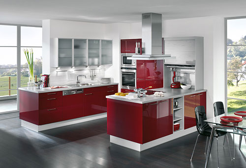 Modern Red Twin Kitchen Interior Design Idea