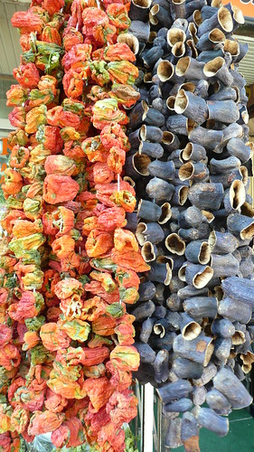 Dried peppers and eggplants