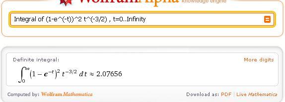 Resultado correcto de la integral