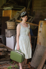 Haunting the Old Mill (strawberrykoi) Tags: old building mill floral girl vintage dress antique 50s suitcase 40s rundown greem tstraps