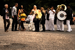 Artists in Public Exposition,Belgrade,Beograd,Belgrado,jj verhoef,jan-joost verhoef,wedding,bride,gypsies,music,band,trumpets,drum,story,line,people,men,women,kids,instruments,gypsy,tradition,traditional,flowers,cameraman,drummer,trumpet