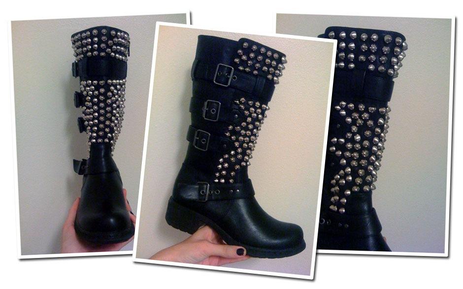 Caroline Blomst DIY studded biker boots