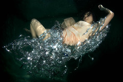 the floating nest (kozyndan) Tags: woman water pool underwater dress nest c dream resting hollywoodhills nightgown